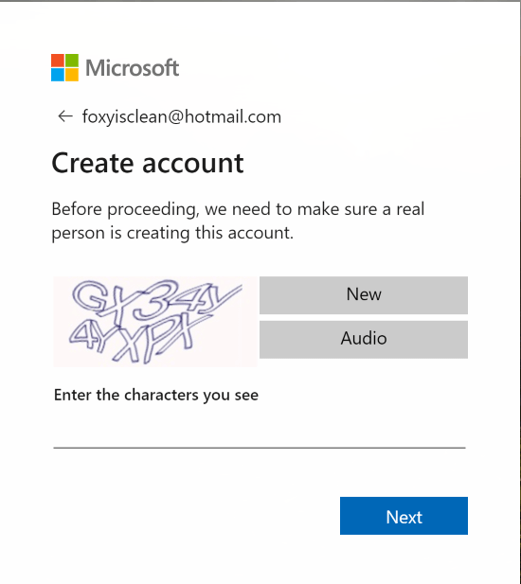 Captcha to create a Hotmail account