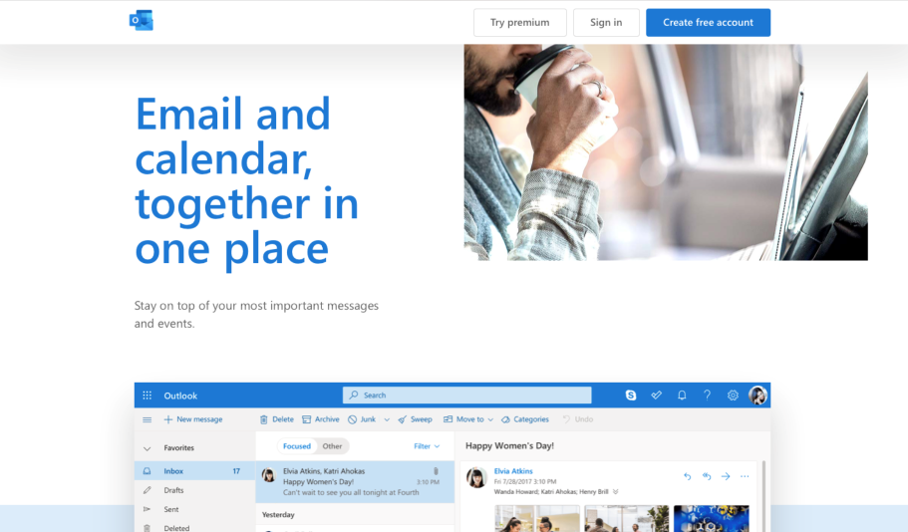 Outlook landing page