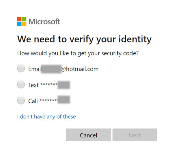 Verify identity Hotmail